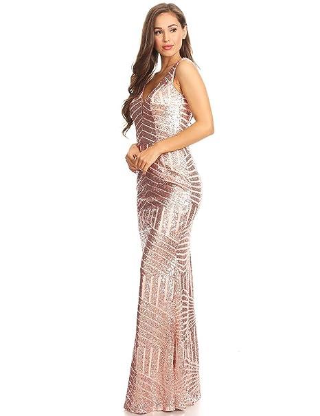 4e90572024 Elinadrs Women s Mermaid Striped Sequin Evening Dresses Long V Neck Empire  Prom Dress E153 at Amazon Women s Clothing store