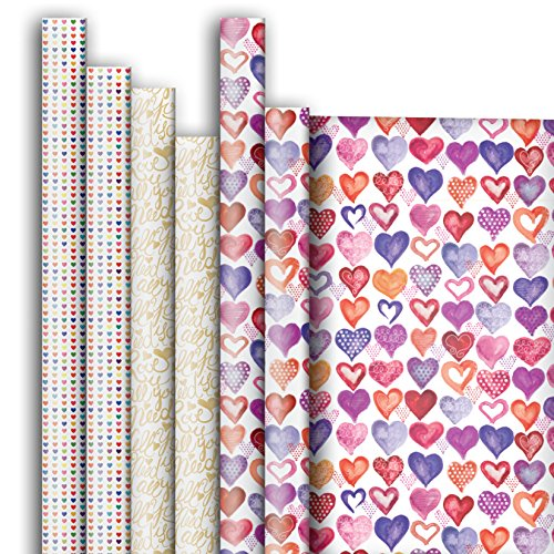 Todays Fresh Cut Heart (Jillson Roberts 6-Roll Count All-Occasion Gift Wrap Available in 12 Different Assortments, It's All About Love)