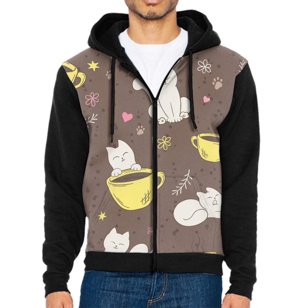 Mens Our Team Long Sleeve Screen Print Hooded Fleece Pullover Cats in Red Glasses