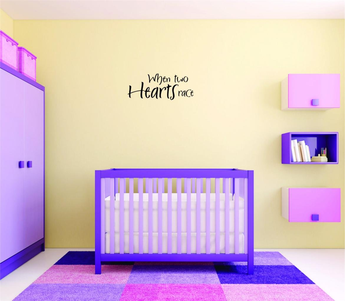 Peel /& Stick Wall Sticker Design with Vinyl Moti 2055 3 Decal Black Size 20 Inches x 40 Inches When Two Hearts Race Text Lettering Love Life Quote Bedroom Color