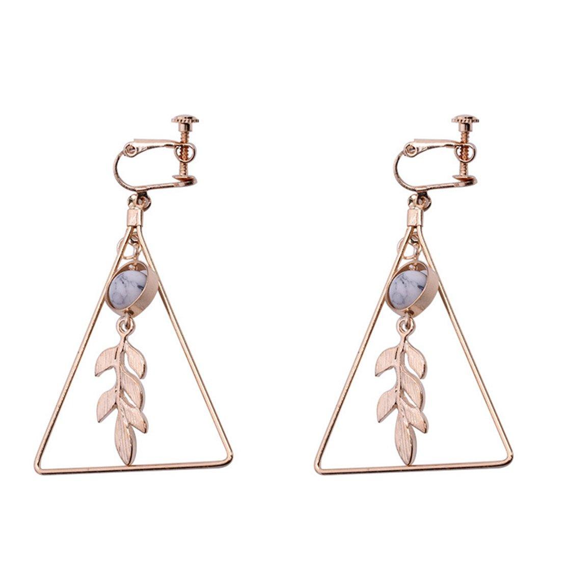 Freedi Women Ear Cuffs Geometry Leaf Dangle Clip On Earrings Non Pierced Ears Fashion Birthday Jewelry Gift for Girls