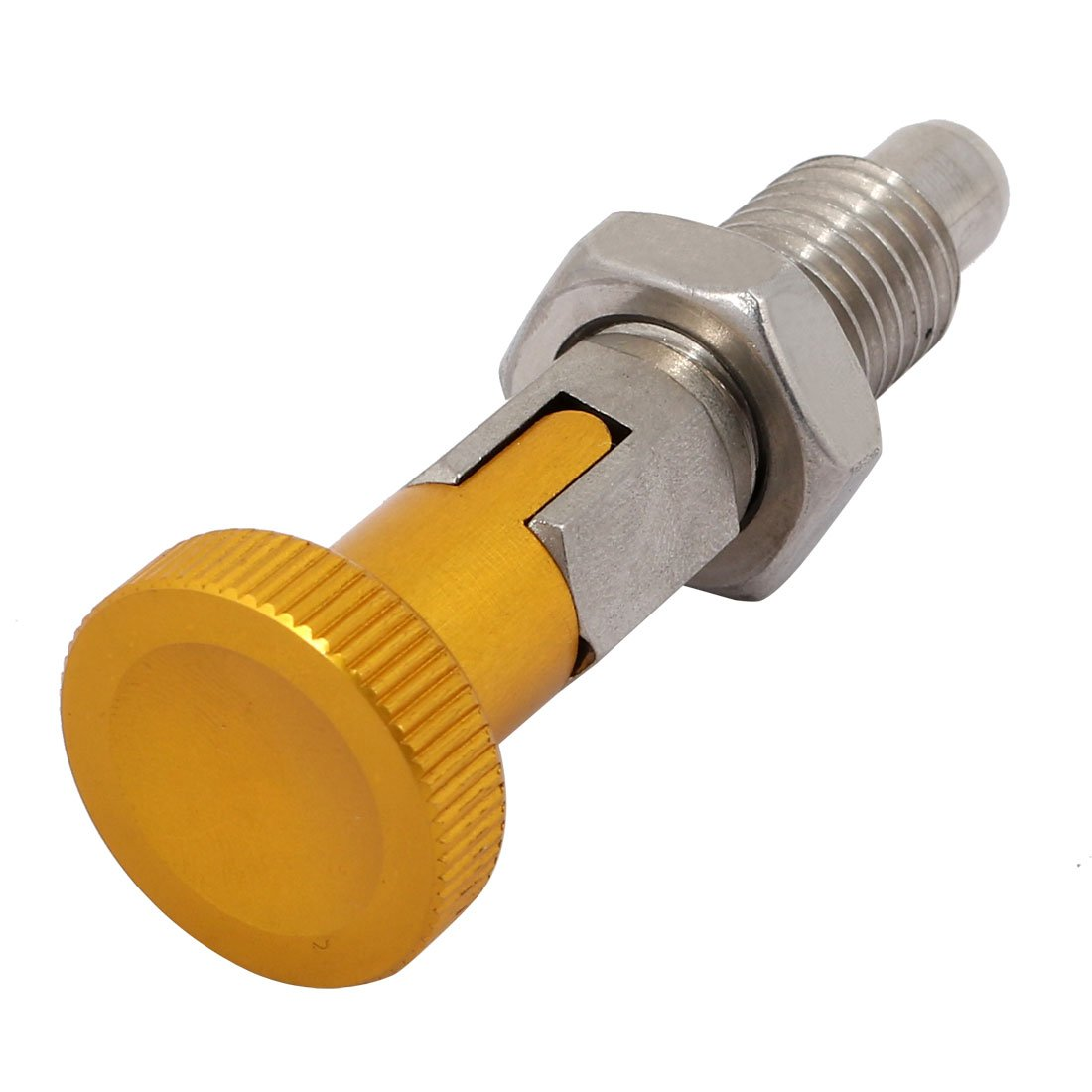 uxcell M12x1.75mm Thread 8mm Pin Dia Stainless Steel Lock-Out Type Indexing Plunger w Locking Nut