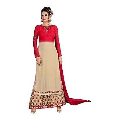 6fccaa4335a Rouge Stitched Designer bollywood indien Straight salwar kameez with Plazo  kaftaan jupe longue avec une veste