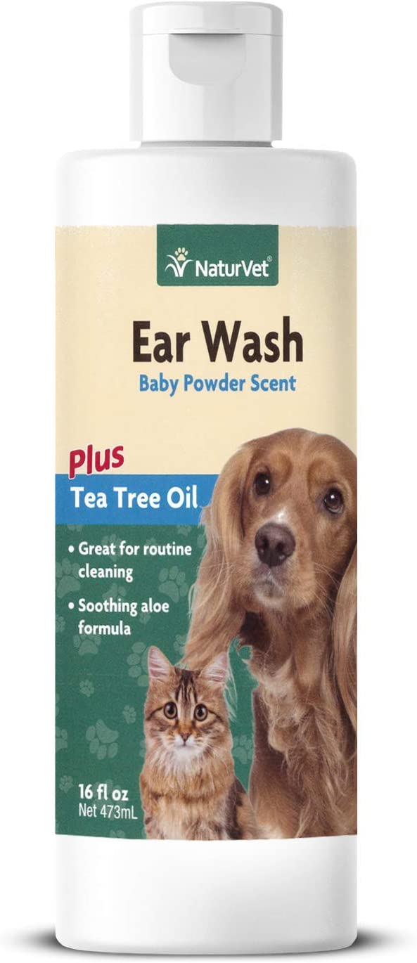 NaturVet – Ear Wash Liquid - Plus Tea Tree Oil – Gentle Formula Dissolves Ear Wax & Removes Debris – Enhanced with Aloe & Baby Powder Scent – for Dogs & Cats