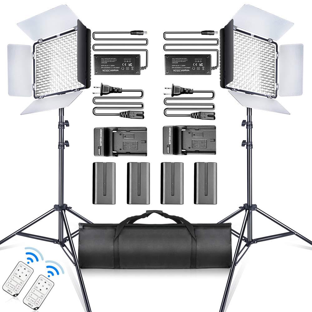 SAMTIAN LED Video Light 600 LED Camera Studio Light Kit CRI95 3200K 5600K Camcorder Light Kit with Barndoors 75 Inches Light Stand Batteries and Remote Camera Photo Light for Studio Photography, Video by SAMTIAN