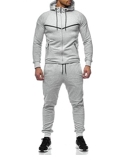 Violento - Ensemble Jogging stylé Homme Gris Clair  Amazon.fr  Vêtements et  accessoires 82b6c0c1d62f