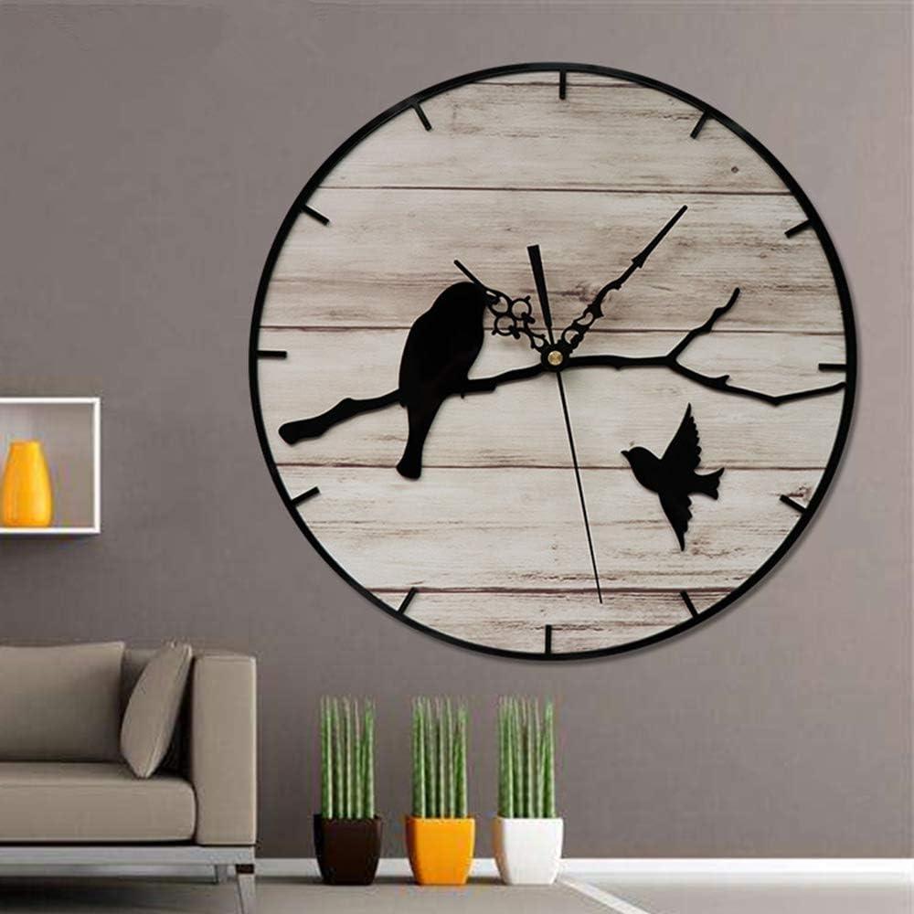 Asvert Reloj de Pared 31 * 31 cm Decorativo Vintage Reloj Cologado con Mecanismo Silencioso Decoración para Habitación Dormitorio Oficina Bar (Pájaro)