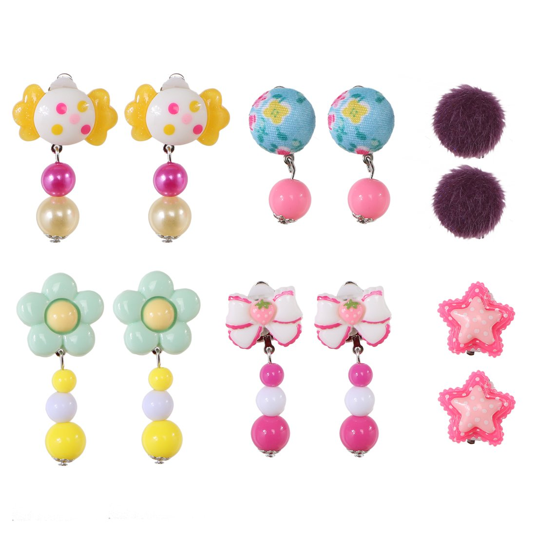 kilofly 6 Pairs Girls Princess Party Favor Jewelry Clip On Earrings Value Pack AWA416set6