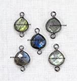 Natural Labradorite Faceted Heart Shape 9 mm Black Plated Double Bail Bezel Charm Connector 50 pcs.