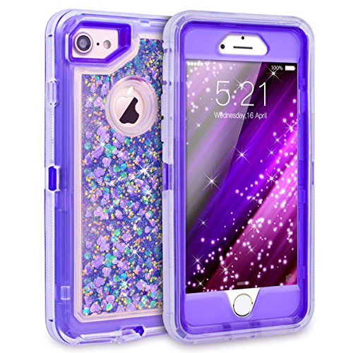 iPhone 7 Case, iPhone 6S Case, Dexnor Glitter 3D Bling Sparkle Flowing Liquid Case Transparent 3 in 1 Shockproof TPU Silicone Core + PC Frame Case Cover for iPhone 7/6s/6 - Purple Transparent