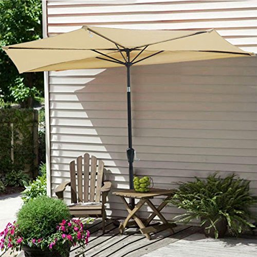 9 Ft Beige Outdoor Patio Half Umbrella Off The Wall 5 Rib Construction 97 In Stainless Steel   Aluminum Pole Tilt System W  Push Button Crank Handle For Balcony Door Sun Shade Opt