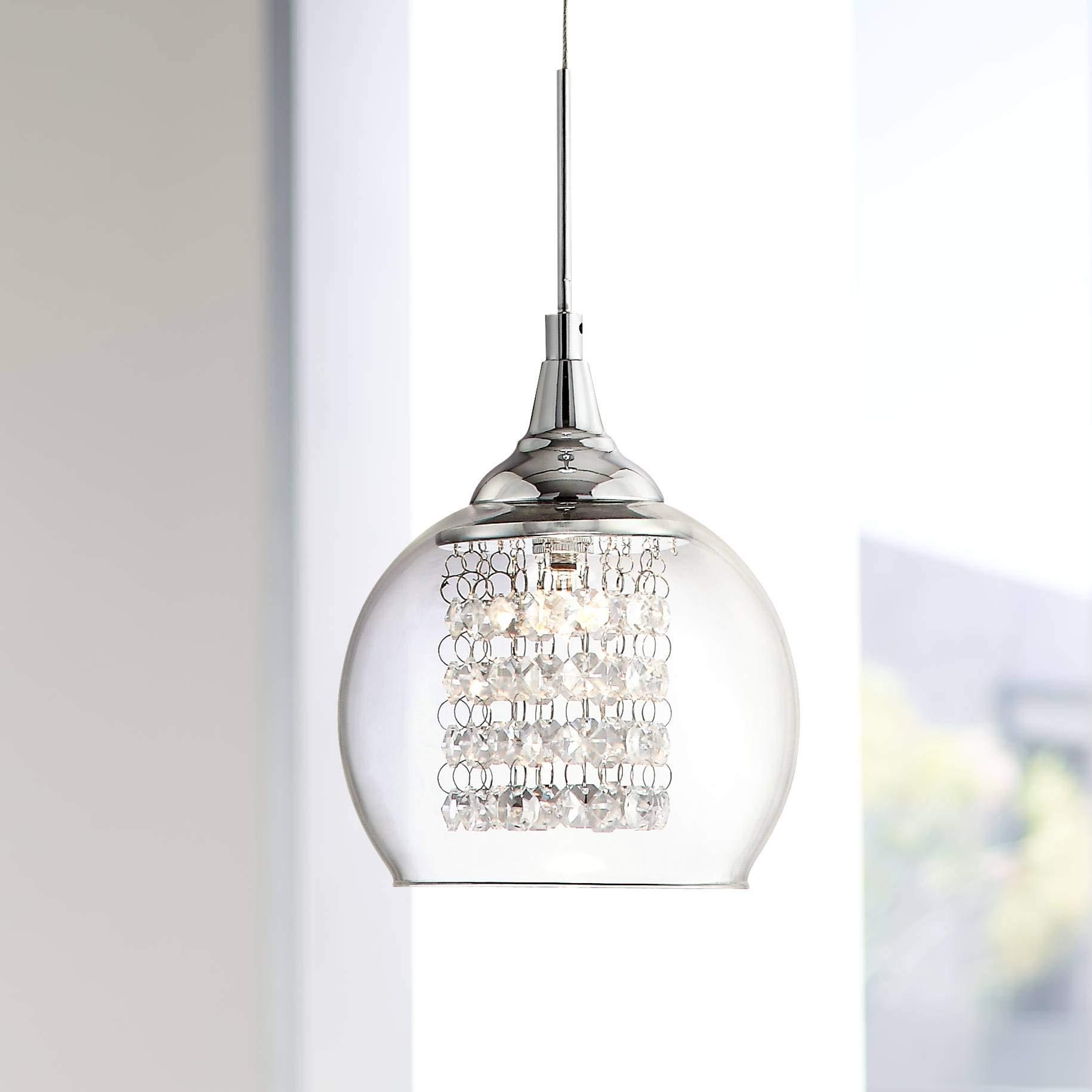 Possini Euro Encircled Crystal 6'' Wide Halogen Mini Pendant - Possini Euro Design