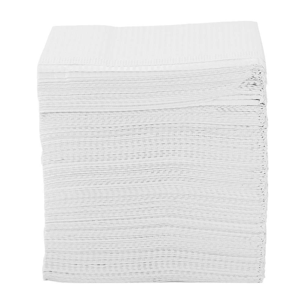 Yosooo Dental Towel, Disposable Dental Patient Towel Bibs Tissue - 2 Plies - Pack of 500pcs(White)