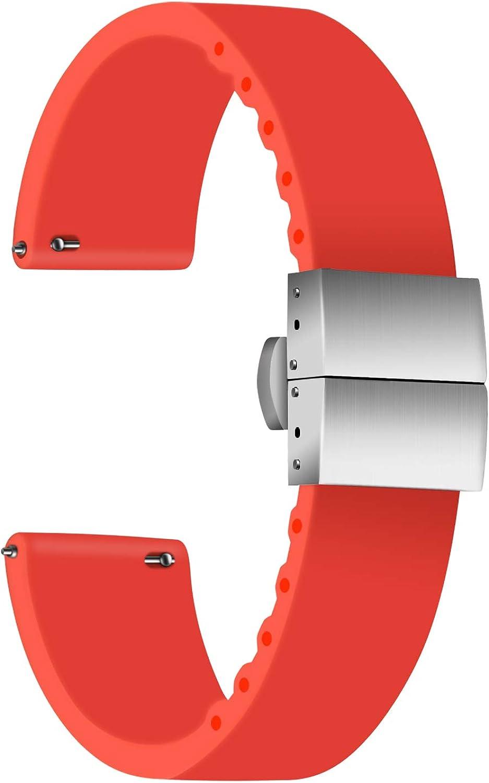 Ullchro Correa Reloj Calidad Alta Recambios Correa Relojes Caucho - 14mm, 16mm, 18mm, 20mm, 22mm, 24mm Silicona Correa Reloj con Acero Inoxidable Hebilla desplegable