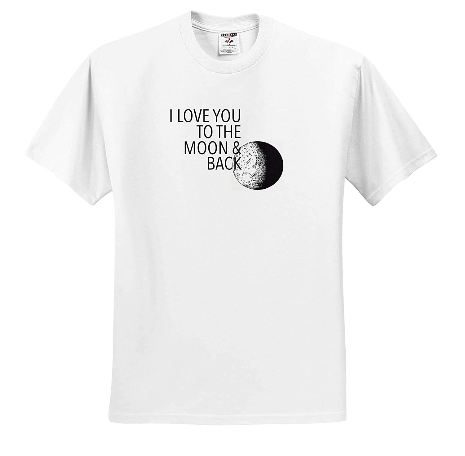 I Love You to The Moon Black T-Shirts Love Sayings 3dRose EvaDane