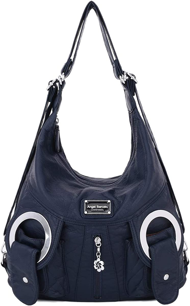 Angel Kiss womens shoulder handbags,Large Waterproof PU Washed Leather Hobo Bags for Women