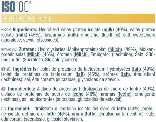 Dymatize ISO 100 Birthday Cake 900g - Hidrolizado de Proteína de Suero Whey + Aislado en Polvo