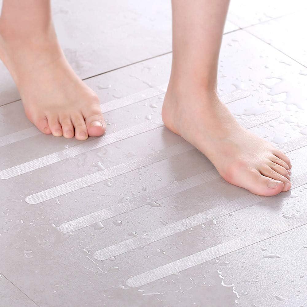 Lyanther Pegatinas Antideslizantes PEVA Impermeable Transparente Ambientalmente para Tinas Piscinas Ba/ño Ba/ñera Ducha Cocina Barcos Escaleras Ba/ños 12 Tiras