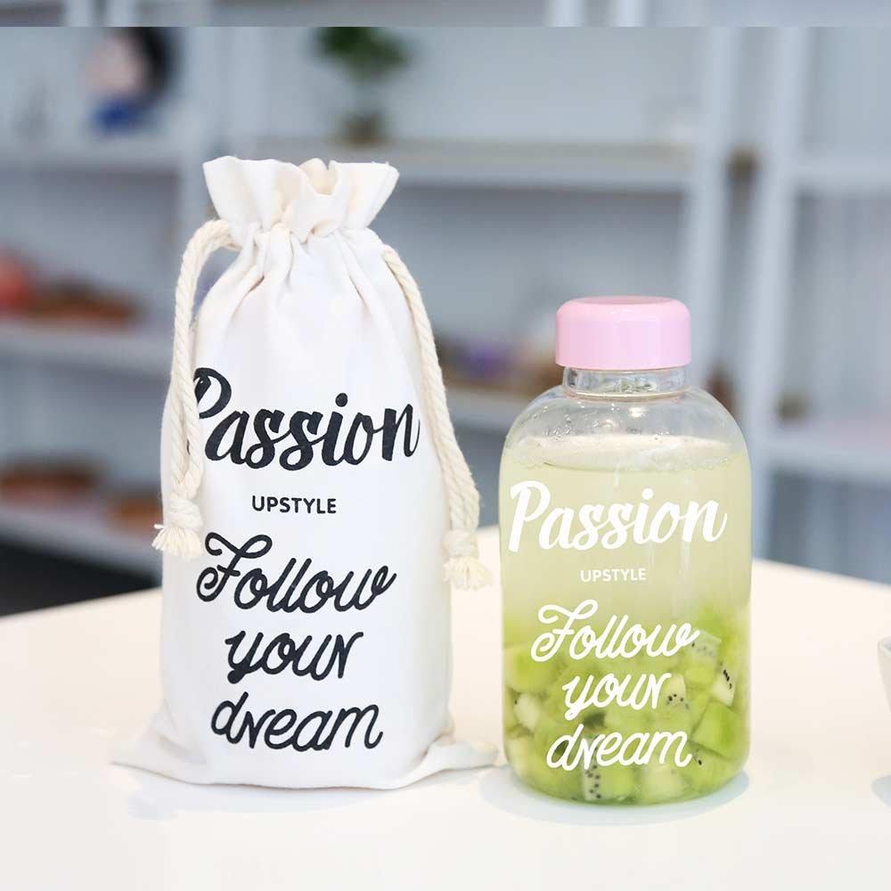 UPSTYLE elegante alta reutilizable de borosilicato zumo de leche botellas de vidrio para leche Exprimir gran capacidad portátiles deportes botella de agua ...