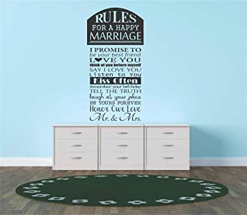 I Promise to Be Your Best Friend Love You Think of You Before Myself Say I Love You Listen to You Kiss Often Decals /& Stickers Design with Vinyl Gold 940 Rules for A Happy Marriage Black 16 x 20
