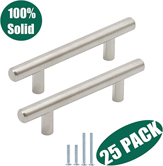 "3/"" Satin Nickel Drawer Pulls  5/"" Overall Length Box of 25 Pulls"