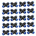 uxcell 20Pcs 8mm Dia 4 Ways Tube Hose Pneumatic Air Quick Fitting Push in Connector Black