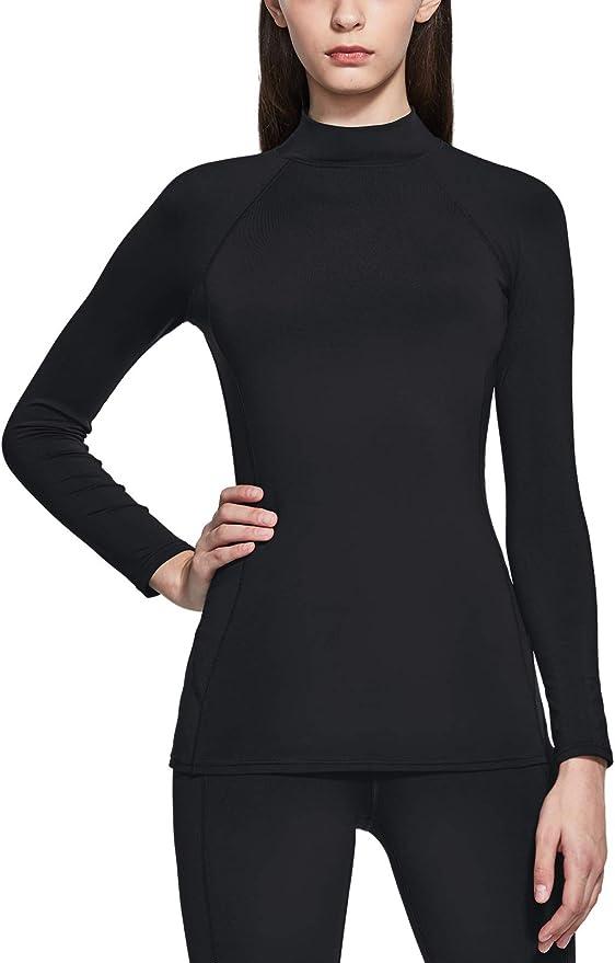 Mock Turtle Neck Fleece Lined Compression Base Layer Shirts TSLA Kids Thermal Long Sleeve Tops