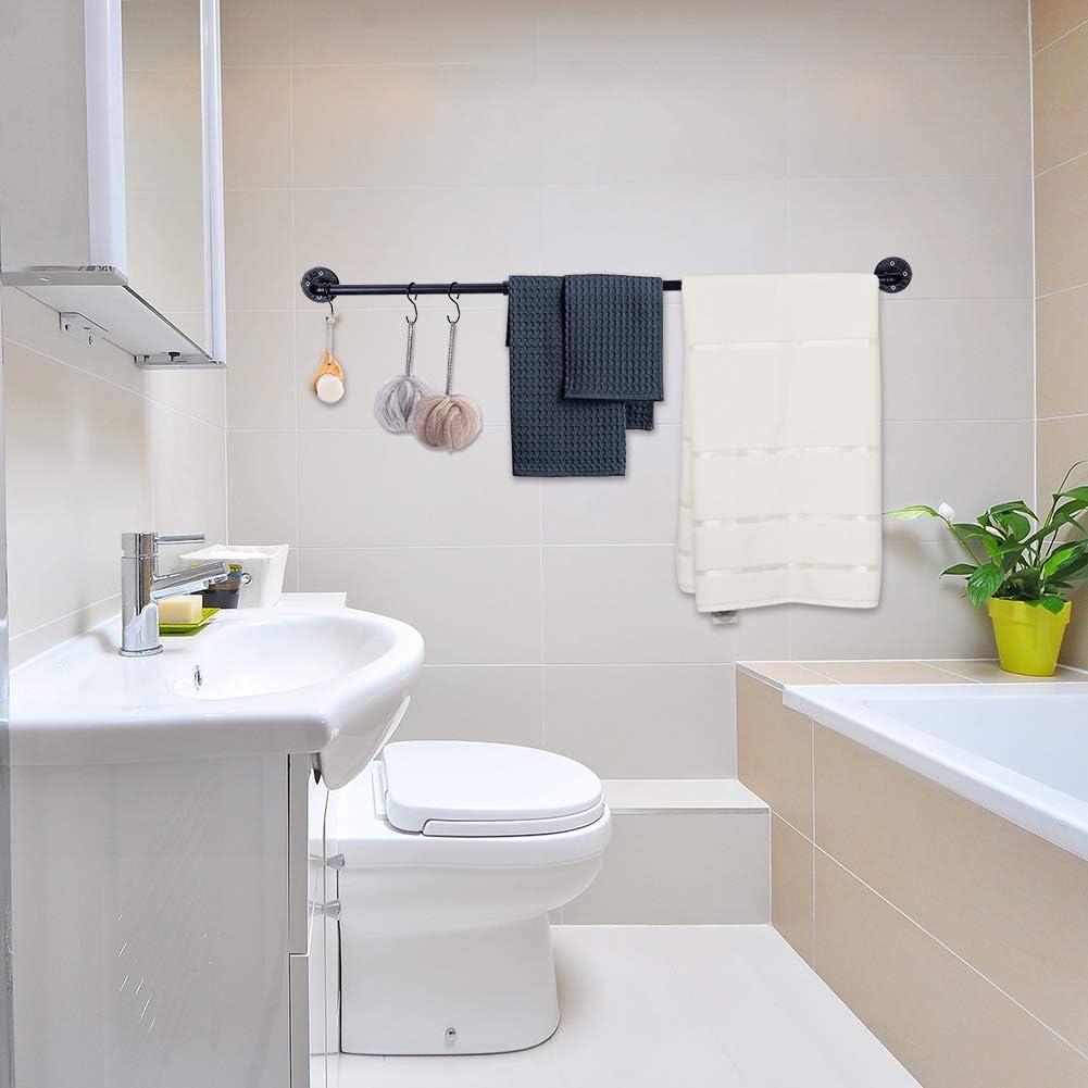 mural salle de bainde Porte Serviette Noir Tuyau Barre porte-serviettes Extra Long Porte Serviette Cuisine 128 cm