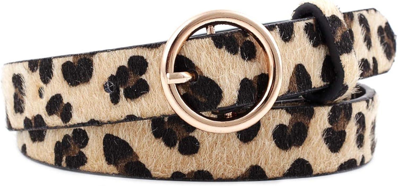 Stylish Leopard Print Faux Leather Waist Belt Faux Horsehair Waistband