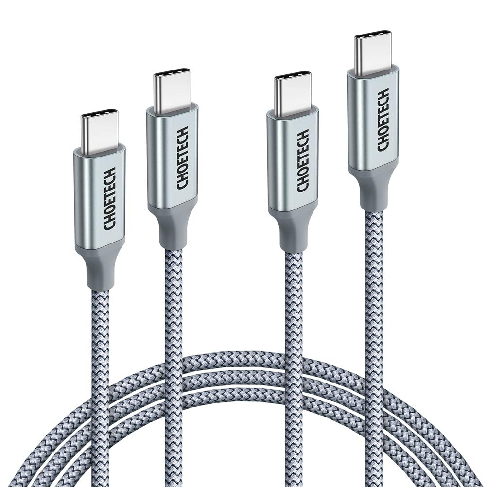 CHOETECH USB C to USB C Cable, 2 Pack 100W USB Type C Braided Fast Charging Cable (20V 5A 6ft) Compatible with Galaxy Note10/Note10 Plus, MacBook Pro 2019 2018 2017, Retina MacBook Air, iPad Pro 2018 by CHOETECH