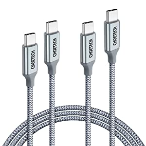 CHOETECH USB C to USB C Cable, 2 Pack 100W USB Type C Braided Fast Charging Cable (20V 5A 6ft) Compatible with Galaxy Note10/Note10 Plus, MacBook Pro 2019 2018 2017, Retina MacBook Air, iPad Pro 2018