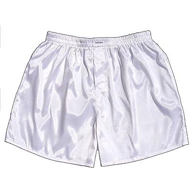 (L) Blanc Hommes Boxer Shorts Sous-vêtements Vêtements de nuit en satin