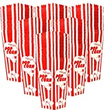60 Individual Disposable Popcorn Boxes with Old Fashion Vintage Retro Design with Red and White Colored, Nostalgic Carnival Stripes, A Huge 7.75'' Inches Tall and Hold 46 Oz. by Original Salbree