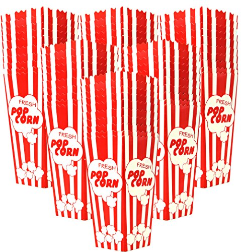 60 Individual Disposable Popcorn Boxes with Old Fashion Vintage Retro Design with Red and White Colored, Nostalgic Carnival Stripes, A Huge 7.75