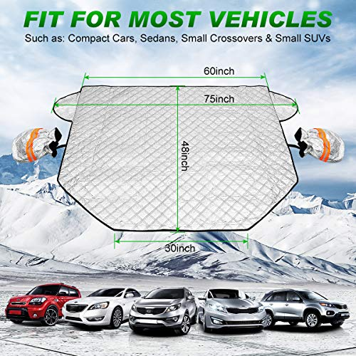 Car Windshield Snow Cover, Waterproof Windshield Winter Protector Cover with Rearview Mirror Protector for Snow Ice Frost Defense, 4 Layers Protection, Magnetic Edges Fit for Most Cars and SUV