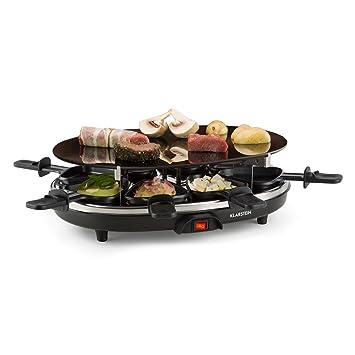 Klarstein Blackjack raclette con Grill (900 W de Potencia, raclette con 8 sartenes Triangulares antiadherentes, Parrilla Redonda de cerámica, ...