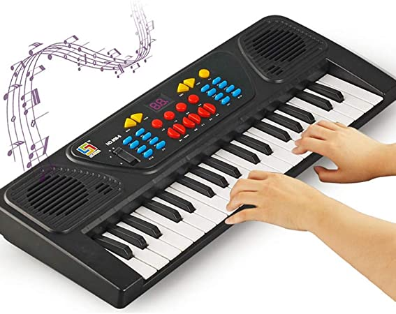 VGBEY Piano Eléctrico, Juguete Educativo del Teclado Digital Musical USB 37Key con Micrófono, Cable USB para Niños de Niños