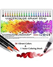 Water Color Brush Pens 20 Colors + 1 Water Brush Set, Watercolor Paint Pens Soft and Flexible Nylon Brush Tip for Kid Adult Artists, Professional Art Supplies for Painting Markers
