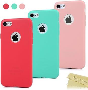 Maviss Diary 3X Funda iPhone 7, Carcasa Silicona Gel Mate Case Ultra Delgado TPU Goma Flexible Cover Protectora para iPhone 7 (Rojo, Rosa Claro, Verde Menta): Amazon.es: Electrónica
