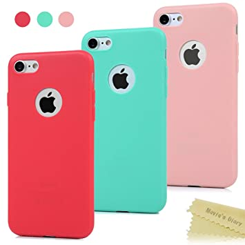 Maviss Diary 3X Funda iPhone 7, Carcasa Silicona Gel Mate Case Ultra Delgado TPU Goma Flexible Cover Protectora para iPhone 7 (Rojo, Rosa Claro, ...