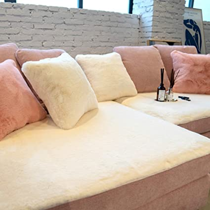 Awesome Amazon Com Sqinaa Solid Color Sofa Cover Faux Fur Sofa Caraccident5 Cool Chair Designs And Ideas Caraccident5Info