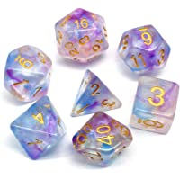 HD DND Dice Sets RPG Polyhedral Dice for Dungeons and Dragons,D&D,Pathfinder MTG,Role Playing Game Purple-Blue Transparent Dice with Color Changing Glitter