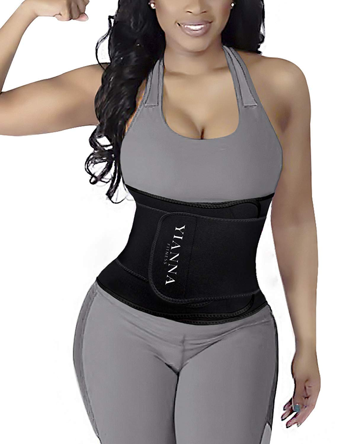 YIANNA Waist Trainer Slimming Body Shaper Belt - Sport Girdle Waist Eraser Trimmer Compression Belly Weight Loss Fitness Tummy Control, YA8010-Black-XL