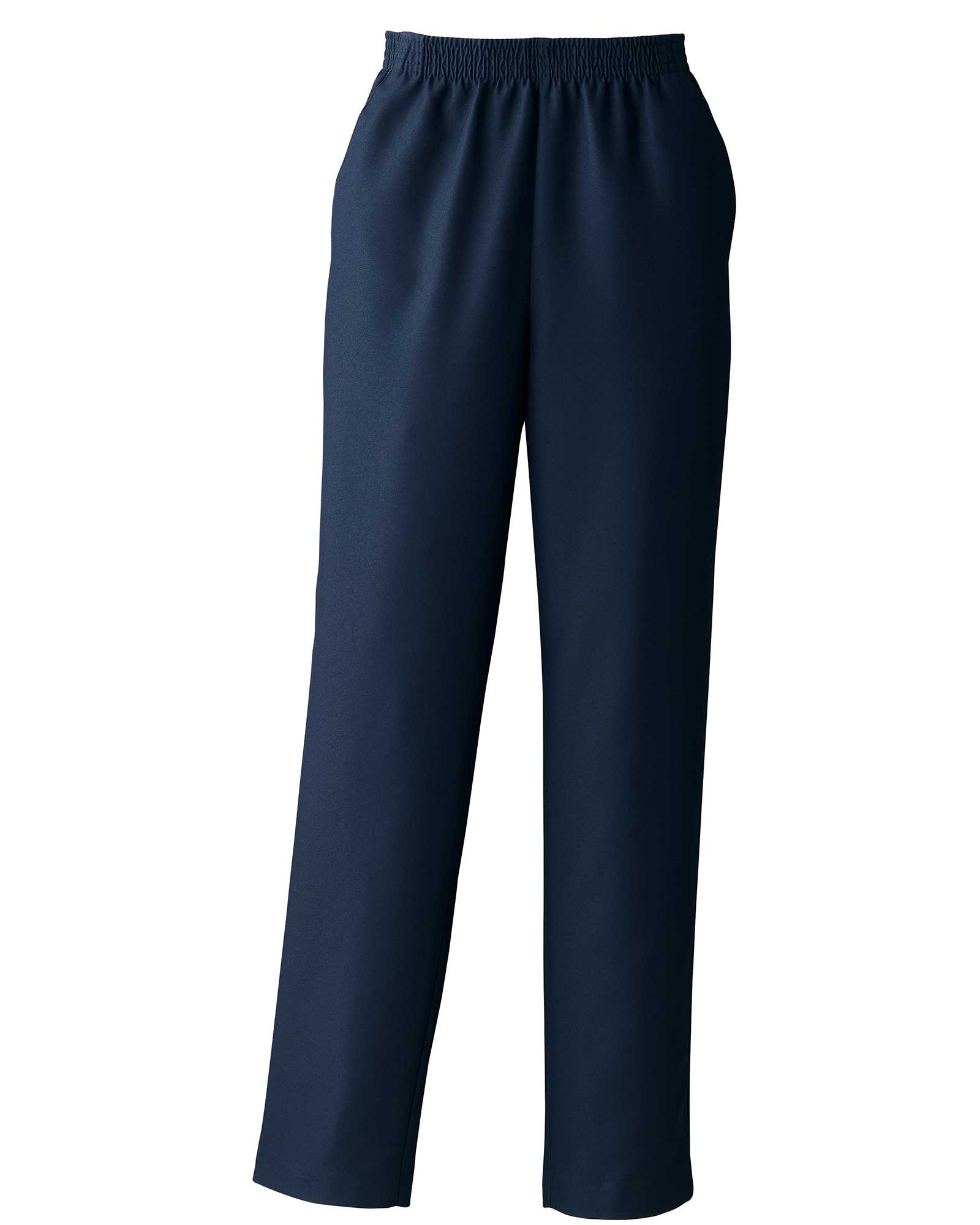 Donnkenny Elastic-Waist Gabardine Pull-On Pants, Navy, 14