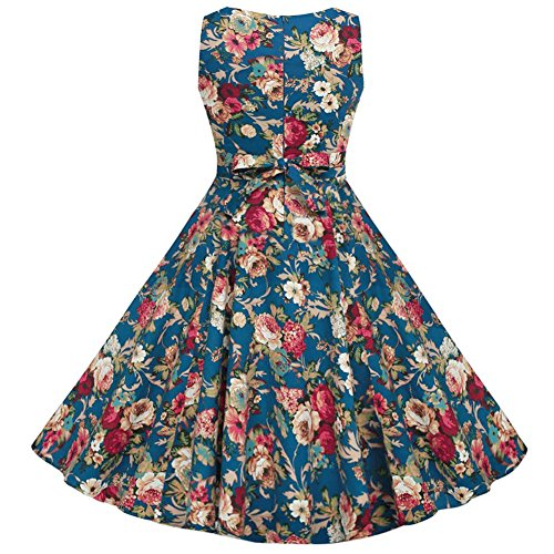 OWIN Women's Vintage 1950's Floral Spring Garden Party Dress Party Cocktail Dress ,Blue ,Medium