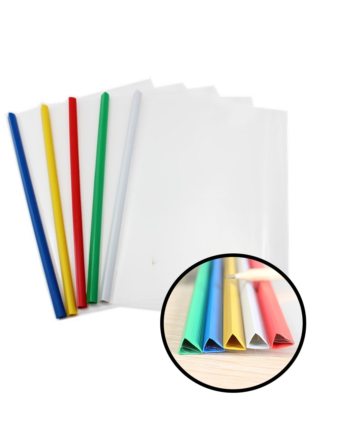 PRALB 25PCS Standard Sliding Bar Translucent Design Project File,Report Covers for A4,Perfect for School and Office,5 Color
