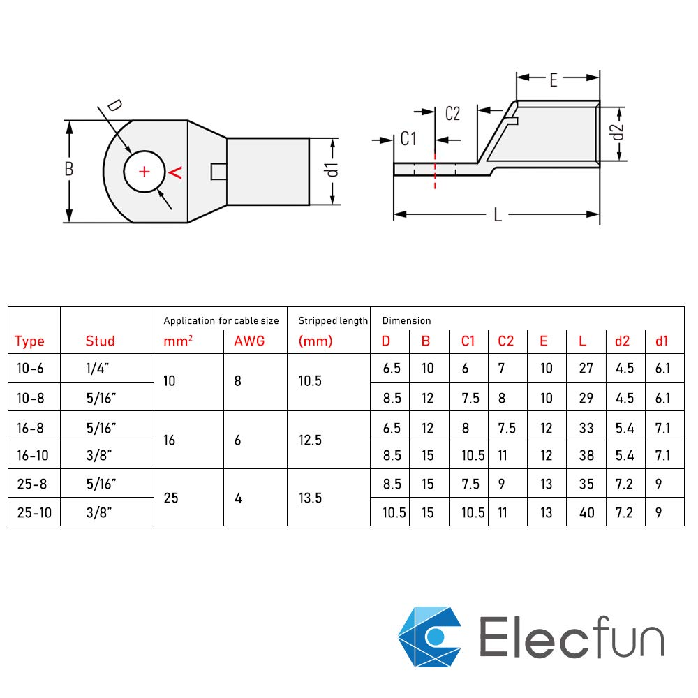 Elecfun 56pcs 8 4 Awg Assorted Heavy Duty Lugs Battery Cable Tinned Honda Bf130 Wiring Diagram Copper Ring Terminal