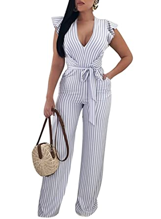 9f612d5b84c6 Amazon.com  Remelon Womens Ruffle Sleeveless Deep V Neck Backless Stripe  Print Belted Wide Leg Jumpsuits Rompers  Clothing