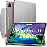"ESR Yippee Trifold Smart Case for iPad Pro 11"" 2020, Auto Sleep/Wake [Supports Apple Pencil 2 Wireless Charging], Lightweight Stand Case with Clasp, Hard Back Cover for iPad Pro 11""Silver Gray"