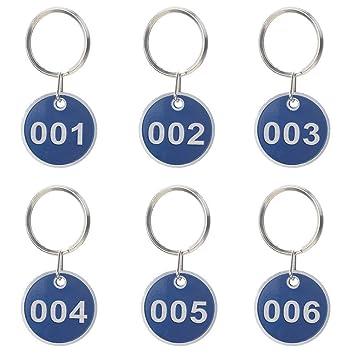 Aluminiumlegierung Metall 50 St/ück 1 to 50 blau nummeriert Schl/üsselanh/änger